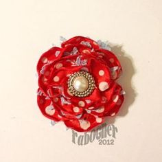 Red Polka Dot Satin / Light Blue Lace Flower Hair Clip 152  $3