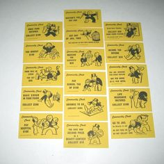 Monopoly Game Cards | Vintage Monopoly Community Chest Game Card Pieces Set of 16