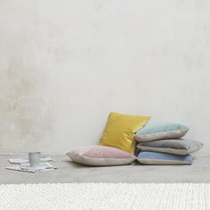 Each of these colourful velvet cushions has a slubby linen flipside. And we think that makes them twice as nice. Pleated Curtains, Curtains With Blinds, Scatter Cushions, Throw Pillows, Curtain Accessories, Comfy Sofa, Pencil Pleat, Guest Bed, Velvet Cushions