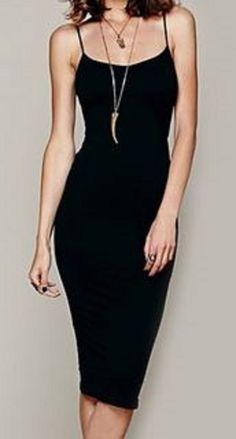 Sexy Black Spaghetti Strap Bodycon Solid Color Women's Little Black Dress