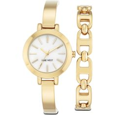 Nine West Haydens Bracelet Watch & Bracelet ($59) ❤ liked on Polyvore featuring jewelry, bracelets, brushed gold metal, nine west, gold tone jewelry, nine west jewelry and adjustable bangle
