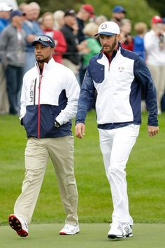 Dustin Johnson Photos Photos - Vice-captain Tiger Woods and Dustin Johnson of the United States walk the course during practice prior to the 2016 Ryder Cup at Hazeltine National Golf Club on September 28, 2016 in Chaska, Minnesota. - 2016 Ryder Cup - Previews