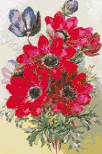 Anemones cross stitch kit or pattern | Yiotas XStitch