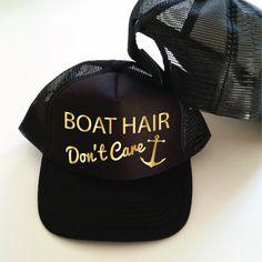 Boat Hair Don't Care Trucker Hat. Boat Hat. Boat Cap. Trucker Cap. Sailors Hat. Anker Hat. Funny Boat Hat. by SoPinkUK on Etsy