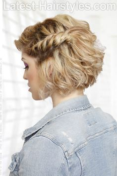 Curly Bob Hairstyle with Side Braid Side View