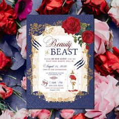 Beauty or Beast gender reveal invitation he or she what will it be belle roses custom baby shower invitations boy or girl beast theme Gender Reveal Themes, Gender Reveal Shirts, Gender Reveal Party Decorations, Gender Reveal Invitations, Gender Party, Baby Gender Reveal Party, Cinderella Invitations, Wedding Invitations, Beauty And The Beast Theme
