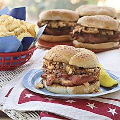Dad-Approved Foods   Bacon-Wrapped Barbecue Burgers   SouthernLiving.com