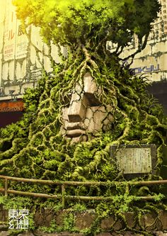 The illustrations of TokyoGenso (a.k.a. Tokyo Fantasy) depict a post-apocalyptic Tokyo devoid of people and overtaken by nature. // Moai statue at Shibuya station