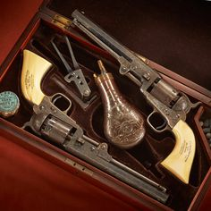 GUN OF THE DAY – Pair of Model 1851 Colt Navy revolvers presented to Lt. C.H. Peirce. Originally presented to Lt. C.H. Peirce, a veteran of both the Mexican War and American Civil War, these two .36 caliber handguns were engraved and cased with scrimshawed ivory grips by Grubb of Philadelphia.  Peirce served 40 years in federal government employment, totaling 25 years with the US Army and another 15 years in the U.S. Lighthouse Service.