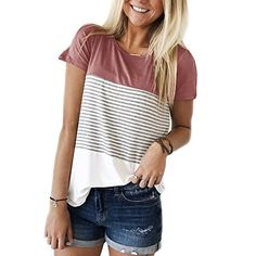 online shopping for Miskely Women's Summer Short Sleeve Striped Blouse Junior Casual Tunic Tops T-Shirt from top store. See new offer for Miskely Women's Summer Short Sleeve Striped Blouse Junior Casual Tunic Tops T-Shirt Casual T Shirts, Women's Casual, Casual Tops For Women, Nice Shirts For Women, Casual Party, Casual Jeans, Striped Shorts, Striped Blouses, Shirt Sleeves