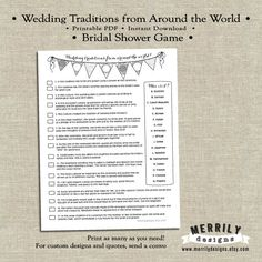Bridal Shower Game - Wedding Traditions from Around the World by Merrily Designs on Etsy #merrilydesigns