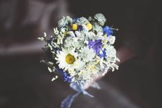 white, yellow and blue bouquet