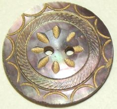 Antique Button Carved & Gilded iridescent pearl