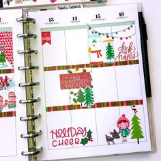 Happy Planner spreads for the month of December. Bloom Planner, Happy Planner, Life Planner, Planner Layout, Planner Ideas, Christmas Scrapbook Layouts, Scrapbooking Ideas, Perfect Planner, Christmas Planning