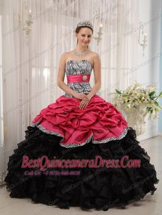 Fuchisa and Black Ball Gown Sweetheart Floor-length Quinceanera Dress