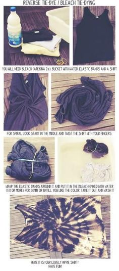 DIY Reverse Tie Dye with Bleach, definitely need to try this before the end of the warm weather!
