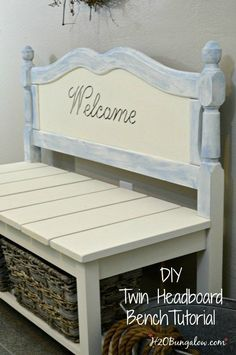 DIY twin headboard bench tutorial to build a bench with a shelf for baskets or storage includes good DIY building tips to make the project easy. by elma