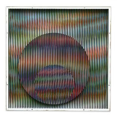 "Chromointerférence V12, Museum of Fine Arts, Houston, USA, Created in Paris, France, 1970, Size: 23 5/8"" x 23 5/8"", by Carlos Cruz-Diez"