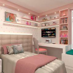 Quarto infantil feminino. Também vale para pre-adolescentes. Muito rosa, verde, espaço para bonecas e uma parede super charmosa com bolinhas rosas. #quartofeminino #quartodemenina #quartomenina #quartoinfantil #girl #baby girl #girlbedroom #quarto #kids #decor #ideas Cute Bedroom Decor, Room Design Bedroom, Bedroom Decor For Teen Girls, Girl Bedroom Designs, Stylish Bedroom, Home Room Design, Room Ideas Bedroom, Bedroom Layouts, Small Room Bedroom
