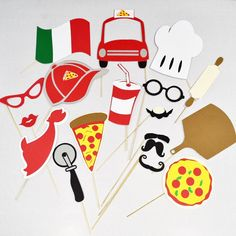 Pizza party props Photobooth props . Pizza props by LeStudioRose
