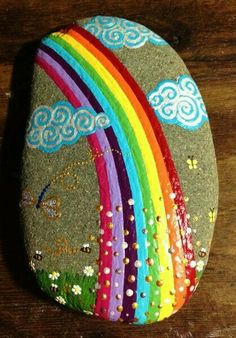 bemalte Steine, Regenbogen Rainbow gem...