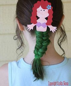 Ideas for crazy hair day at school. This mermaid braid would be fun just about any time. :-)