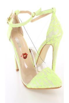 Yellow Floral Lace Clear Pointy Toe Ankle Strap Single Sole High Heels