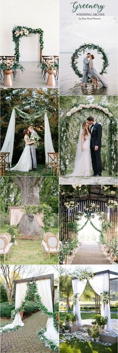 Greenery wedding arches alter for outdoor weddings / http://www.deerpearlflowers.com/wedding-ceremony-arches-and-altars/4/