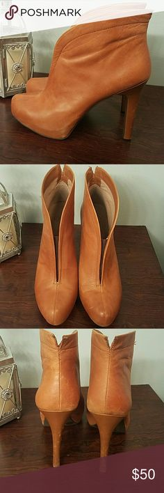 Jessica Simpson nude booties 4 inch heel but super comfy. You'll look great on dress down day in the natural leather booties. Jessica Simpson Shoes Ankle Boots & Booties