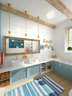 42 Cheerful Kids Bathroom Designs That Make Them Happy Home Design And Interior Childrens Bathroom, Bathroom Kids, Bathroom Layout, Bathroom Colors, Bathroom Interior Design, Modern Bathroom, Bathroom Designs, Master Bathrooms, Bathroom Mirrors