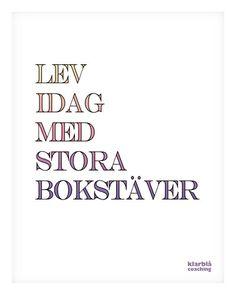 Lev idag med stora bokstäver.   www.klarblacoaching.se   #citat #quote #visdom