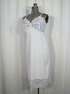 By Adonna Beautiful Retro Full Slip Gorgeous Unique White Vintage Size 38 Full Slip Feminine Nightie.Women/'s Nylon Slip