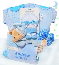 190 best gift baskets wagons images on pinterest baby gift personalized sleepy bear baby boy basket negle Gallery