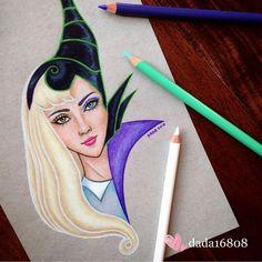 Aurora vs Maleficent original is up for grabs at… Cute Disney Drawings, Cool Art Drawings, Art Drawings Sketches, Cartoon Drawings, Drawing Disney, Beautiful Drawings, Disney Kunst, Disney Art, Illustration Au Crayon