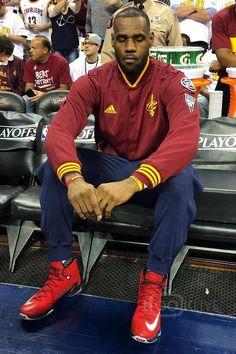 LeBron James wearing Adidas Cleveland Cavaliers On-Court Warm-Up Jacket, Nike Lebron 13 Elite, Adidas Cleveland Cavaliers On-Court Warm-Up Jogger Pants