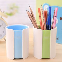 2pcs/set Korean Cute Desk Pen Holder Office Stationery Holder Square/Round  Plastic Container For Pens   Desk Accessories U0026 Organizer   Pinterest    Korean ...