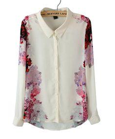 White Lapel Long Sleeve Floral Chiffon Blouse pictures