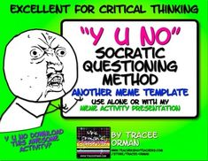 """Socratic Seminar Question Using """"Y U No"""" Meme Activity for ANY Content Area! Use this activity for a bell ringer, exit slip, and even a back-to-school icebreaker. It can be used several times throughout the year.You can use this activity alone or as an addition to my original presentation Meme Activity for Icebreaker or Anytime in Literature, History, Careers, Sociology Classes."""