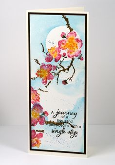 moonlit blossoms watercolor card by Heather Telford
