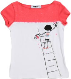 A crisp white tee features a pink color block across the shoulders. A little Ms. Rykiel is standing atop a rhinestone ladder with paint and roller in hand.