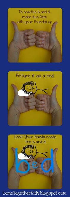 Great trick for teaching children how to remember the positioning for lower case b and d