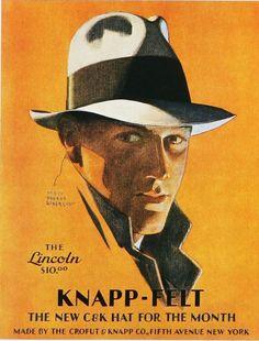 fa4e0fda2e75c knapp-felt men s hat - the lincoln  vintageadvertising  vintage   advertising  vintagehat