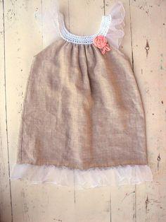 Linen Organic dress/ forest fairy dress/ crochet yoke/ crochet dress/ birthday/ photo prop/flower girl dress