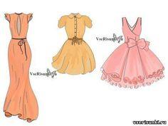 Как рисовать короткое платье