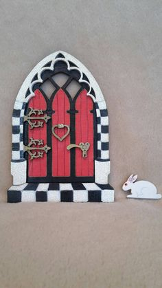 Fairy Door Wooden Handpainted 'Alice in Wonderland' Inspired Glitter with The White Rabbit Unique from: Bespoke gift Diy Fairy Door, Fairy Doors, Diy Door, Alice In Wonderland Party, Adventures In Wonderland, Main Image, Fairy Crafts, Gothic Fairy, Wooden Wall Decor