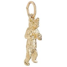Gold Plate Standing Bear Charm by Rembrandt Charms