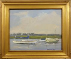 Sailboats in Harbor Painting by American Impressionist on Chairish.com