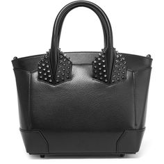 Christian Louboutin Eloise small spiked textured-leather tote (10.360 HRK) ❤ liked on Polyvore featuring bags, handbags, tote bags, black, top handle handbags, zip purse, top handle purse, tote handbags and zipper handbag