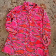 Orange Red & Pink chain print blouse Practically new! Worn once. This one is a show stopper. Notations Tops Button Down Shirts