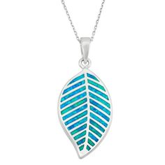 Blue Inlay Opal Leaf Pendant in 925 Sterling Silver by GetDiamondsDirect on Etsy